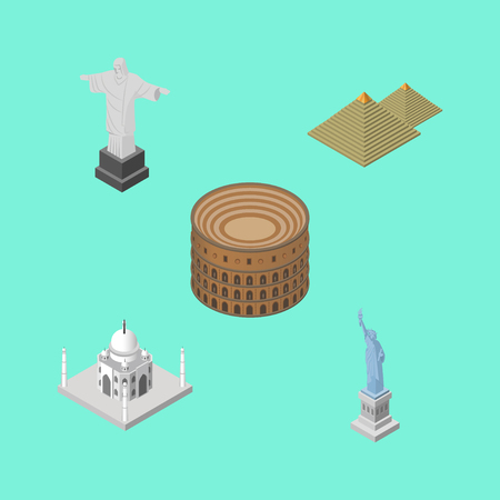 Isometric Travel Set Of India Mosque, Rio, New York And Other Vector Objects. Also Includes Attraction, Christ, Colosseum Elements.