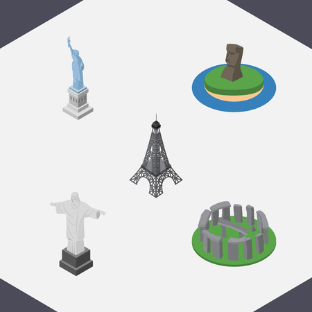 Isometric Cities Set Of England, Paris, Chile Vector Objects. Also Includes Liberty, Stonehenge, MoAI Elements. Illustration