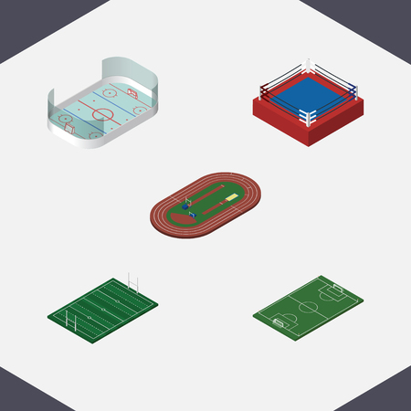 soccer field: Isometric Training Set Of Ice Games, Fighting, Soccer And Other Vector Objects. Also Includes Boxing, Stadium, Football Elements.