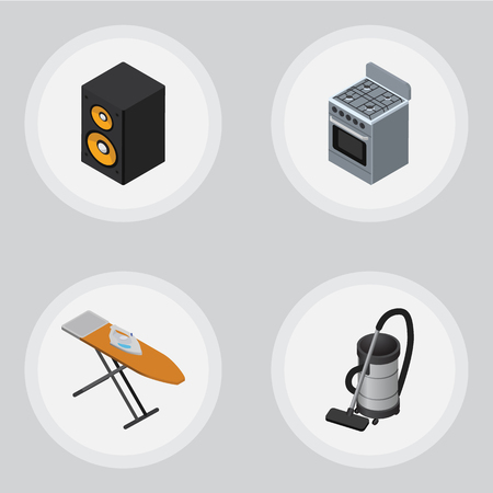 vac: Isometric Technology Set Of Cloth Iron, Music Box, Vac And Other Vector Objects. Also Includes Vac, Vacuum, Board Elements.