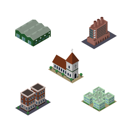 Isometric Urban Set Of Chapel, House, Clinic And Other Vector Objects. Also Includes Warehouse, Catholic, Storage Elements.