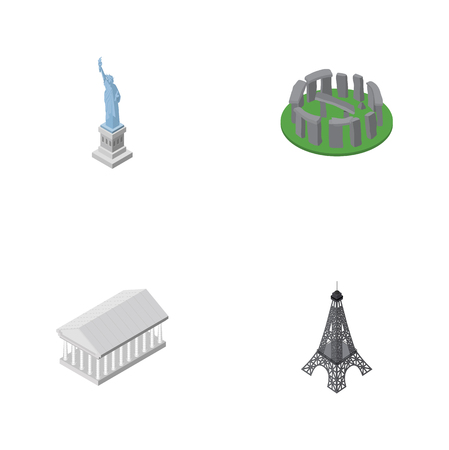 Isometric Cities Set Of Paris, New York, Athens And Other Vector Objects. Also Includes Museum, Paris, Athens Elements.