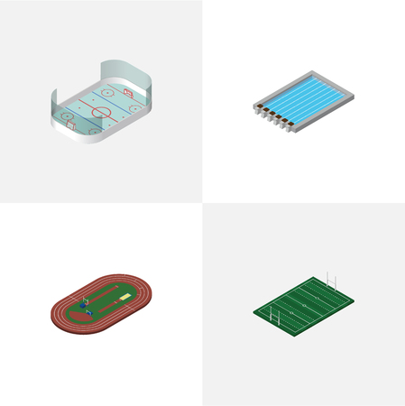 Isometric Sport Set Of American Football, Ice Games, Run Stadium And Other Objects. Also Includes Hockey, Field, Running Elements.