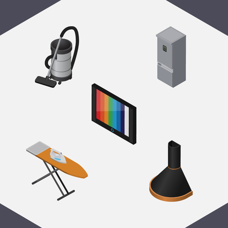vac: Isometric Appliance Set Of Television, Vac, Cloth Iron And Other Vector Objects. Also Includes Kitchen, Cleaner, Vacuum Elements. Illustration