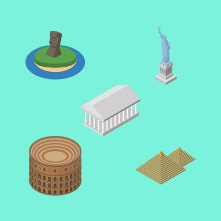 Isometric Attraction Set Of Egypt, Coliseum, New York And Other Vector Objects. Also Includes Rome, Egypt, Coliseum Elements. Illustration