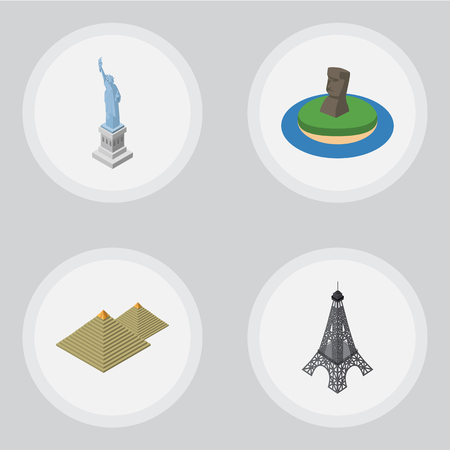 Isometric Travel Set Of Chile, Egypt, Paris And Other Objects. Also Includes Pyramids, MoAI, Statue Elements.