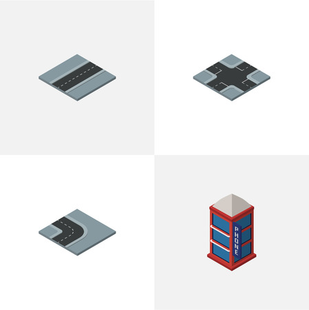 Isometric City Set Of Path, Intersection, Phone Box And Other Objects. Also Includes Turn, Phone, Way Elements.