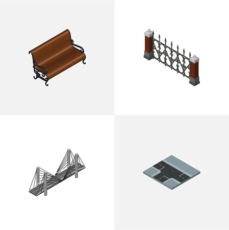 Isometric Architecture Set Of Sitting, Bridge, Crossroad And Other Objects. Also Includes Way, Hedge, Seat Elements.