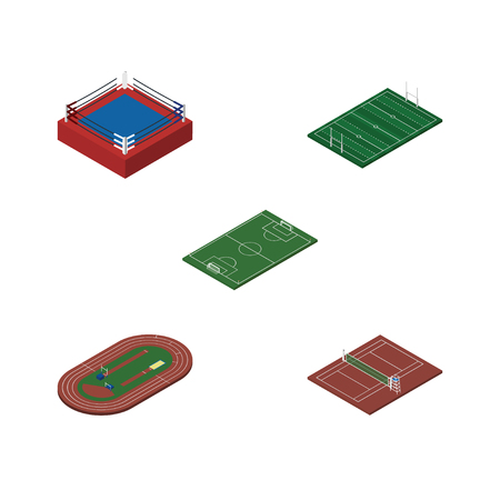 indoor court: Isometric lifestyle set of fighting, soccer, American football and other objects.