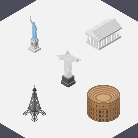 Isometric Architecture Set Of Paris, New York, Rio And Other Objects. Also Includes Coliseum, Museum, Liberty Elements. Illustration
