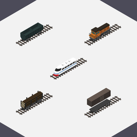 Isometric Railway Set Of Carbon Railway Container, Train, Underground And Other Vector Objects. Also Includes Lumber, Speed, Wood Elements.