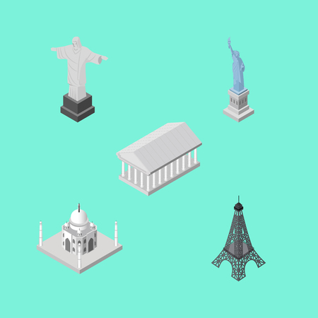Isometric Cities Set Of Athens, Paris, India Mosque And Other Vector Objects. Also Includes Athens, Statue, Paris Elements.