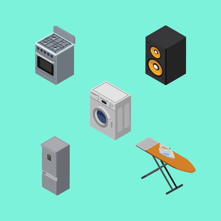 Isometric Device Set Of Stove, Music Box, Cloth Iron And Other Vector Objects. Also Includes Cooker, Music, Laundry Elements. Stock Photo