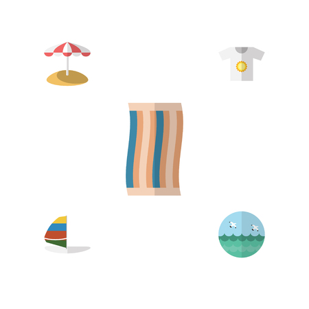 mew: Flat Hot Set Of Surfing, Ocean, Parasol And Other Vector Objects. Also Includes Beach, Towel, Shirt Elements.