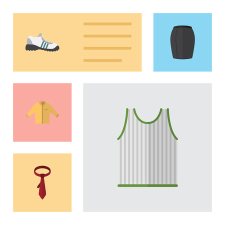 shoelaces: Flat Garment Set Of Singlet, Cravat, Banyan And Other Vector Objects. Also Includes Shoes, Tie, Singlet Elements.