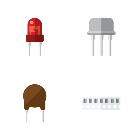 spare: Flat Device Set Of Triode, Resist, Memory And Other Vector Objects. Also Includes Resist, Semiconductor, Transducer Elements. Illustration