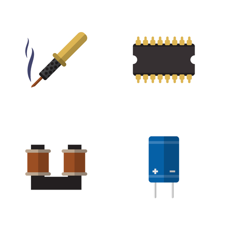 Flat Appliance Set Of Repair, Transistor, Coil Copper And Other Vector Objects. Also Includes Set, Spool, Coil Elements. Illustration