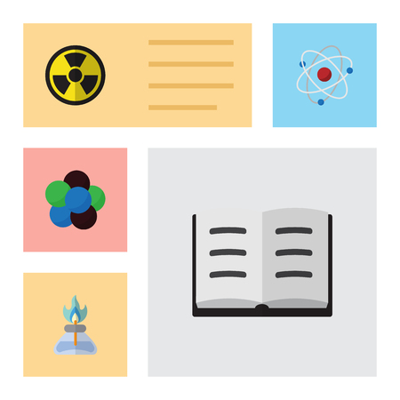 Flat Science Set Of Proton, Flame, Irradiation And Other Vector Objects. Also Includes Irradiation, Proton, Book Elements. Illustration
