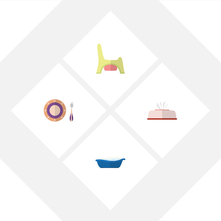 Flat Kid Set Of Bathtub, Tissue, Toilet And Other Vector Objects. Also Includes Bathtub, Dish, Bathing Elements.