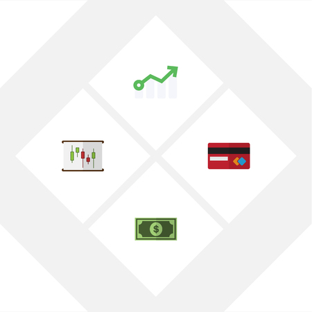 cash money: Flat Exchequer Set Of Growth, Diagram, Payment And Other Vector Objects. Also Includes Money, Chart, Dollar Elements. Illustration