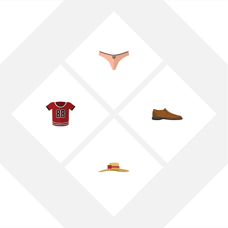 Flat Dress Set Of Male Footware, T-Shirt, Elegant Headgear And Other Vector Objects. Also Includes Headgear, Shoe, Man Elements.