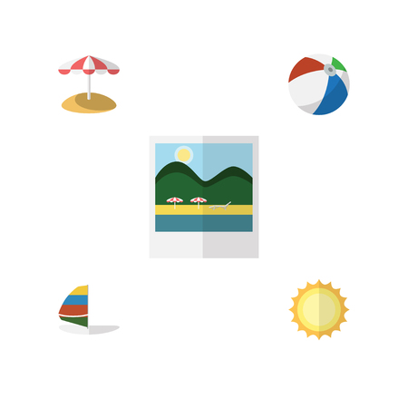 sailboard: Flat Hot Set Of Surfing, Sunshine, Parasol And Other Vector Objects. Also Includes Pictures, Sailboard, Ball Elements. Illustration