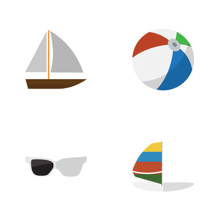 sailboard: Flat Hot Set Of Surfing, Spectacles, Yacht And Other Vector Objects. Also Includes Eyeglasses, Sailboard, Ball Elements. Illustration