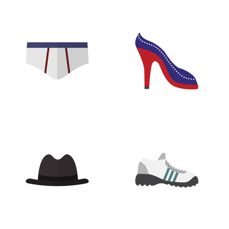 Flat Garment Set Of Sneakers, Heeled Shoe, Underclothes And Other Vector Objects. Also Includes Hat, Shoes, Panama Elements.