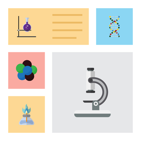 compressed: Flat Science Set Of Glass, Proton, Genome And Other Vector Objects. Also Includes Flask, Optical, Microscope Elements.