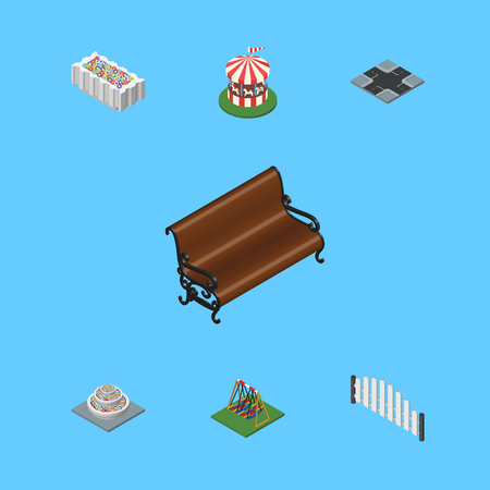 Isometric Architecture Set Of Barricade, Seesaw, Sitting And Other Vector Objects. Also Includes Bench, Barricade, Crossroad Elements.