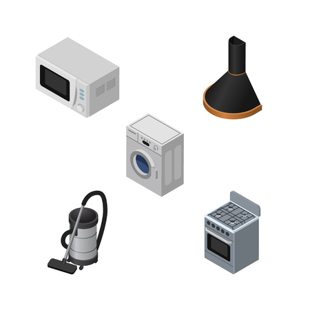 vac: Isometric Electronics Set Of Microwave, Vac, Stove And Other Vector Objects. Also Includes Cooker, Hood, Extractor Elements.
