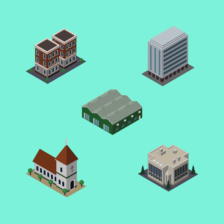 depot: Isometric Urban Set Of Chapel, Office, House And Other Vector Objects. Also Includes Home, Depot, Warehouse Elements.