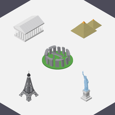 Isometric Cities Set Of Paris, Athens, Egypt And Other Vector Objects. Also Includes Museum, Pyramids, America Elements.