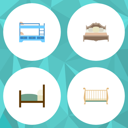 bunk bed: Flat Bed Set Of Bedroom, Bed, Bunk Bed And Other Vector Objects. Also Includes Bed, Bedroom, Bunk Elements.
