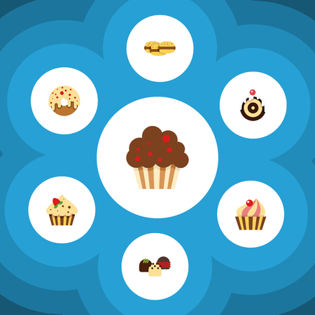 Flat Cake Set Of Muffin, Sweetmeat, Doughnut And Other Vector Objects. Also Includes Muffin, Confectionery, Doughnut Elements.