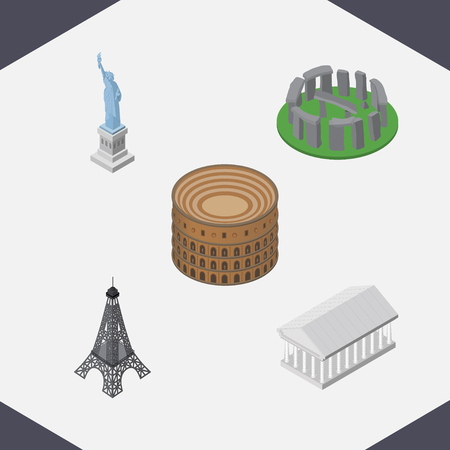 Isometric Cities Set Of Athens, New York, Paris And Other Vector Objects. Also Includes Stonehenge, Eiffel, Museum Elements. Illustration