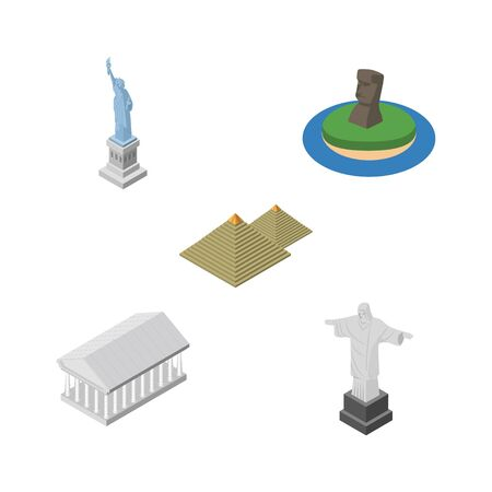 Isometric Attraction Set Of New York, Rio, Athens And Other Vector Objects. Also Includes MoAI, Christ, Pyramids Elements. Illustration