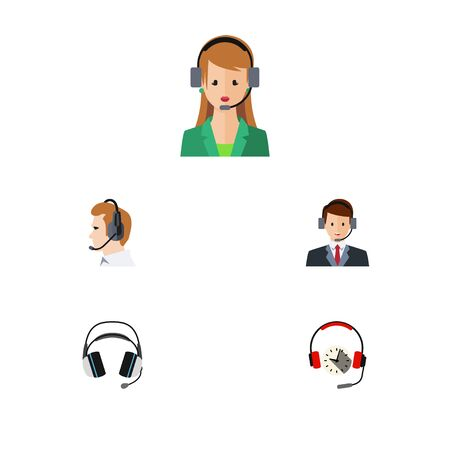 narrator: Flat Telemarketing Set Of Headphone, Telemarketing, Earphone And Other Vector Objects. Also Includes Secretary, Earphone, Headphone Elements.