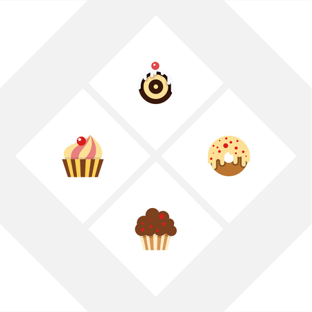 Flat Cake Set Of Sweetmeat, Muffin, Doughnut And Other Vector Objects. Also Includes Cupcake, Donuts, Doughnut Elements. Illustration