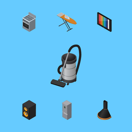 Isometric Appliance Set Of Cloth Iron, Music Box, Kitchen Fridge And Other Vector Objects. Also Includes Box, Kitchen, Ironing Elements.