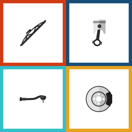 conrod: Flat Auto Set Of Conrod, Windshield, Metal And Other Vector Objects. Also Includes Car, Brake, Auto Elements.