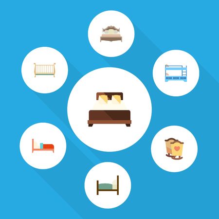 Flat Mattress Set Of Bearings, Bed, Bunk Bed And Other Vector Objects. Also Includes Bearings, Hostel, Bed Elements.