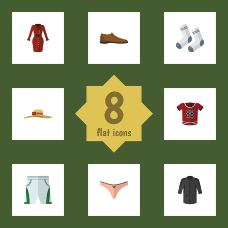 Flat Dress Set Of T-Shirt, Uniform, Male Footware And Other Vector Objects. Also Includes Textile, Underwear, Shoe Elements.