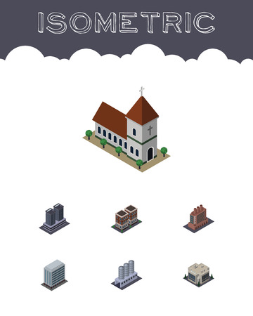 Isometric Urban Set Of Tower, Office, House And Other Vector Objects. Also Includes Storage, Warehouse, Factory Elements. Illustration