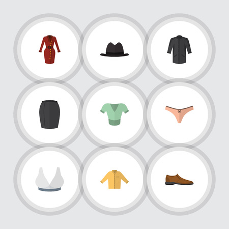 Flat Clothes Set Of Male Footware, Brasserie, Panama And Other Vector Objects. Also Includes Kimono, Footware, Underwear Elements. Illustration
