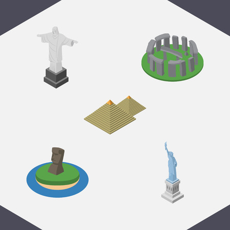 Isometric Cities Set Of New York, Egypt, Chile And Other Vector Objects. Also Includes Stonehenge, Chile, Redeemer Elements.