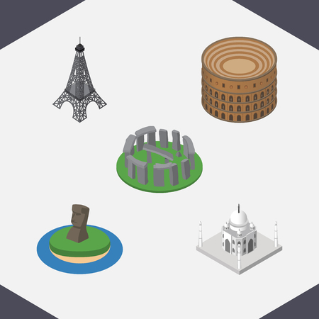 Isometric Cities Set Of Coliseum, India Mosque, England Vector Objects. Also Includes Stonehenge, Taj, Chile Elements.