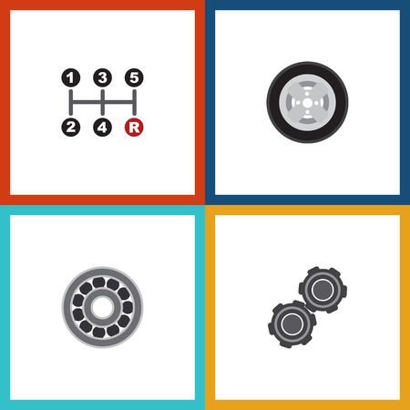 timing belt: Flat Auto Set Of Belt, Carrying, Brake Disk And Other Vector Objects. Also Includes Transmission, Ball, Bearing Elements.