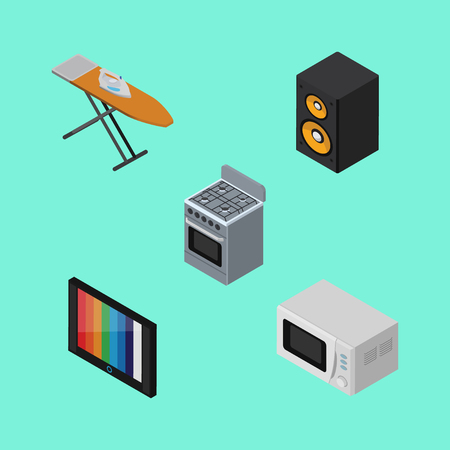 Isometric Device Set Of Stove, Television, Music Box And Other Vector Objects. Also Includes Tv, Device, Stove Elements. Illustration
