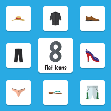 Flat Dress Set Of Beach Sandal, Trunks Cloth, Male Footware Vector Objects. Also Includes Clothes, Shoes, Leggings Elements.